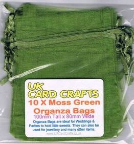 10 x Moss Green Organza Bags - 10cm x 8cm - Weddings, Parties